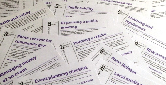 Printed information sheets on a range of topics to do with organising community events.
